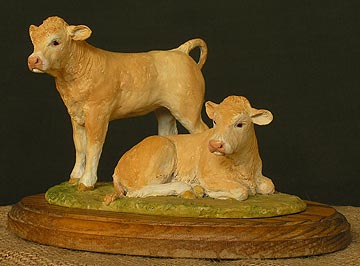 """Friends"" - 2 Blonde d'Aquitaine Calves"